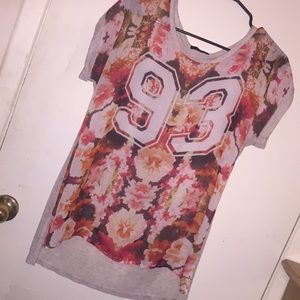 Graphic Chiffon Front Floral Top